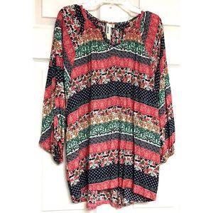 LARA Fashion Colorful Tunic Top 1X Blouse Floral